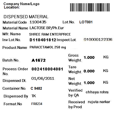 Sample of dispensing label generated by automated dispensing system