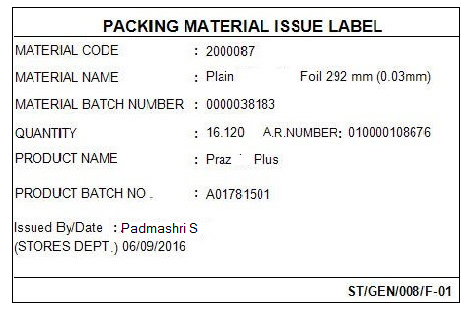 Sample of packing material label generated by automated dispensing system